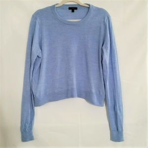 J Crew Wool Sweater Crew Neck Blue Cropped Size XL